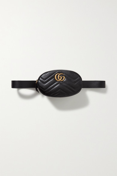 GUCCI | Gucci - Gg Marmont Quilted Leather Belt Bag - Black | Clouty