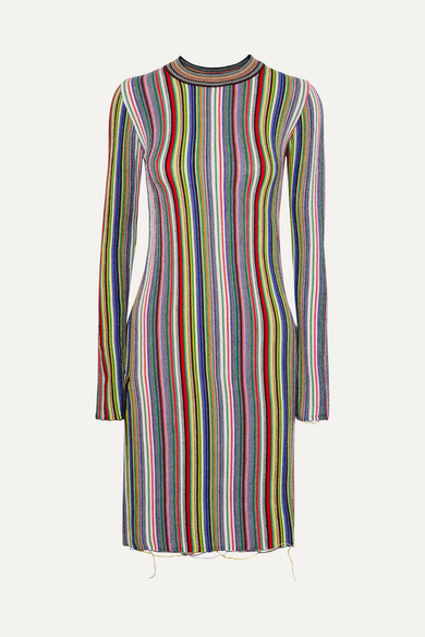 MARQUES'ALMEIDA | Marques' Almeida - Striped Crocheted Merino Wool Mini Dress - Green | Clouty