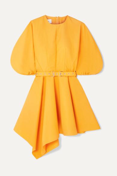 MARQUES'ALMEIDA | Marques' Almeida - Belted Asymmetric Faille Mini Dress - Yellow | Clouty