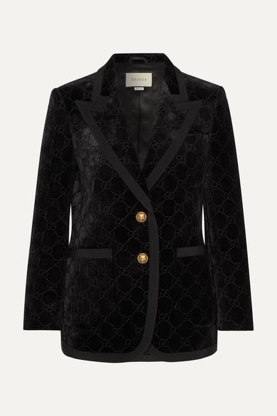 GUCCI | Gucci - Grosgrain-trimmed Metallic Velvet-jacquard Blazer - Black | Clouty