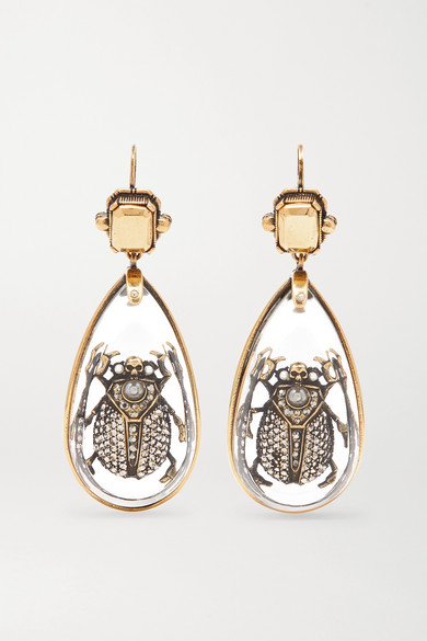 Alexander McQueen | Alexander McQueen - Gold-tone Multi-stone Earrings - one size | Clouty