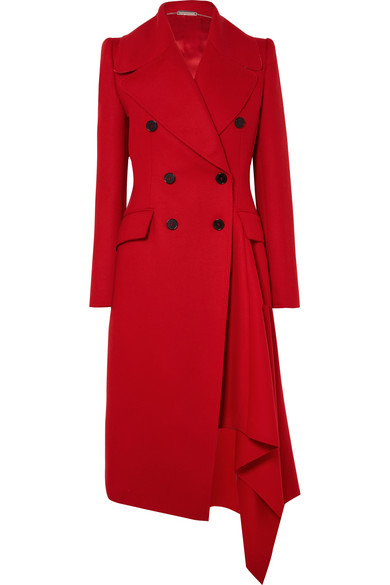 Alexander McQueen | Alexander McQueen - Double-breasted Asymmetric Wool And Cashmere-blend Coat - Red | Clouty