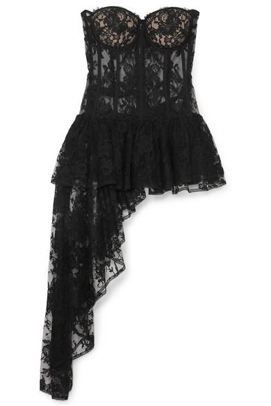 Alexander McQueen | Alexander McQueen - Draped Cotton-blend Sarabande Lace Bustier Top - Black | Clouty