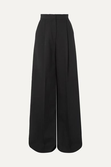 Alexander McQueen | Alexander McQueen - Pleated Crepe Wide-leg Pants - Black | Clouty