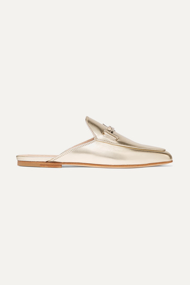 Tod's | Tod's - Embellished Metallic Leather Slippers - Gold | Clouty