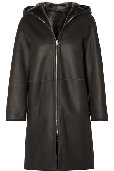 Theory | Theory - Reversible Hooded Shearling Coat - Brown | Clouty