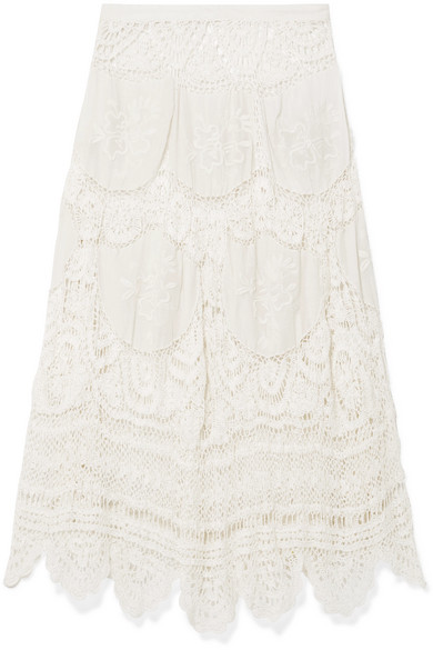 LoveShackFancy | LoveShackFancy - Drew Crocheted Lace And Embroidered Voile Midi Skirt - Off-white | Clouty