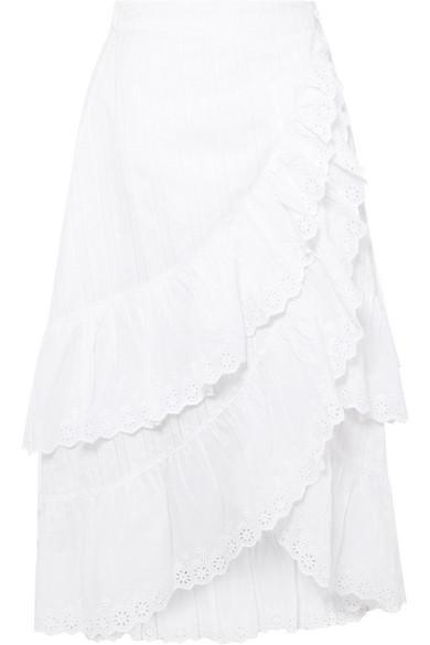 LoveShackFancy | LoveShackFancy - Halle Ruffled Broderie Anglaise Cotton Wrap Skirt - White | Clouty