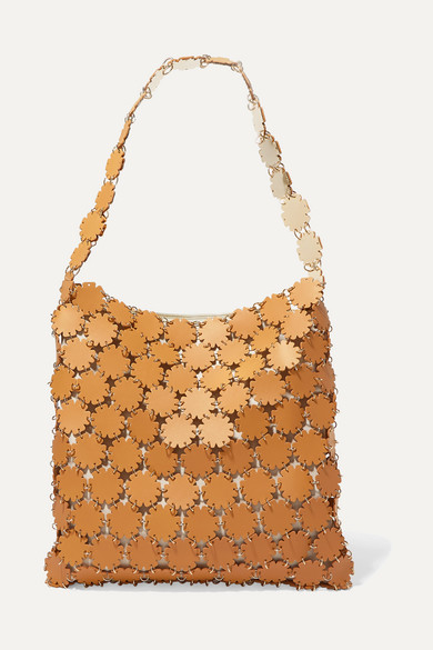 Paco Rabanne | Paco Rabanne - Blossom 1969 Laser-cut Leather And Canvas Shoulder Bag - Mustard | Clouty