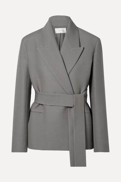 The Row | The Row - Jenia Belted Wool And Silk-blend Jacket - Gray | Clouty