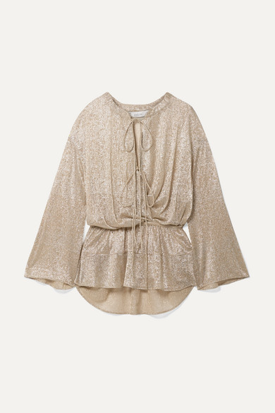 IRO | IRO - Lurex Blouse - Beige | Clouty