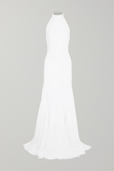 Stella McCartney | Stella McCartney - Stretch-crepe Halterneck Gown - White | Clouty