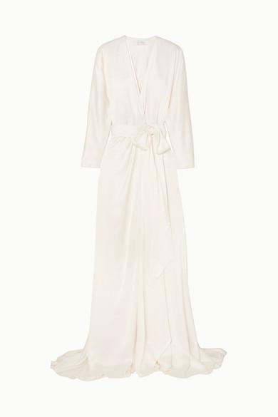 Jenny Packham | Jenny Packham - Aster Satin-crepe Wrap Gown - Ivory | Clouty