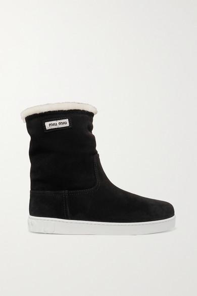 MIU MIU   Miu Miu - Shearling-lined Logo-print Suede Boots - Black   Clouty
