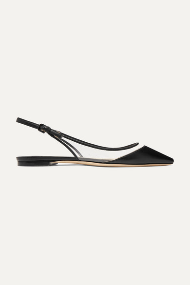 Jimmy Choo | Jimmy Choo - Erin Pvc And Leather Slingback Point-toe Flats - Black | Clouty