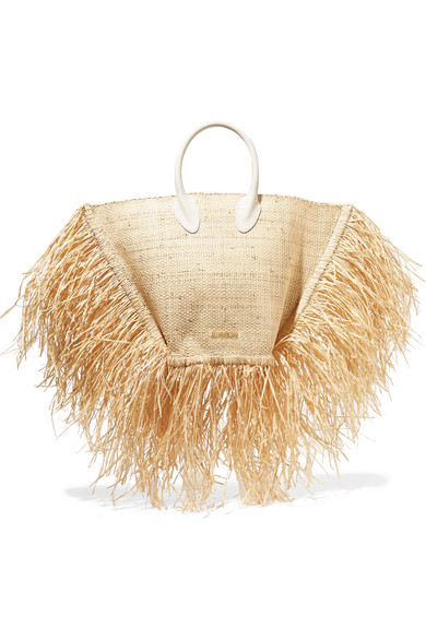 Jacquemus | Jacquemus - Le Baci Leather-trimmed Fringed Raffia Tote - Beige | Clouty