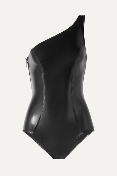Lisa Marie Fernandez | Lisa Marie Fernandez - Arden One-shoulder Stretch-pvc Swimsuit - Black | Clouty