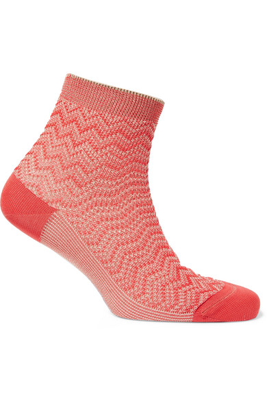 Missoni | Missoni - Metallic Crochet-knit Socks - Red | Clouty