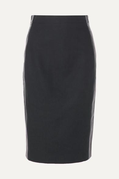 MAX MARA   Max Mara - Stripe-trimmed Cotton And Linen-blend Skirt - Navy   Clouty