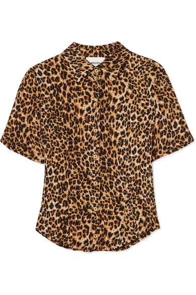 Nanushka | Nanushka - Clare Leopard-print Stretch Plisse-jersey Shirt - Leopard | Clouty