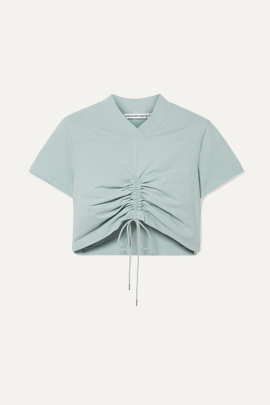 T by Alexander Wang | alexanderwang.t - Cropped Ruched Cotton-jersey T-shirt - Sky blue | Clouty