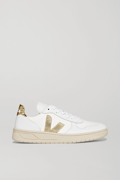 Veja | Veja - V-10 Metallic-trimmed Leather And Mesh Sneakers - White | Clouty