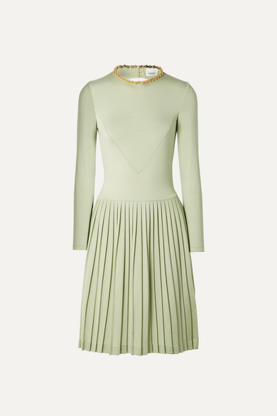 BURBERRY   Burberry - Chain-embellished Open-back Pleated Silk-blend And Jersey Dress - Light green   Clouty
