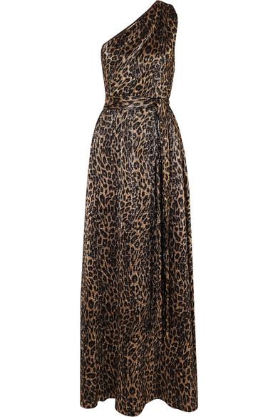 Melissa Odabash | Melissa Odabash - Brinkley One-shoulder Metallic Leopard-print Crepe Maxi Dress - Gold | Clouty