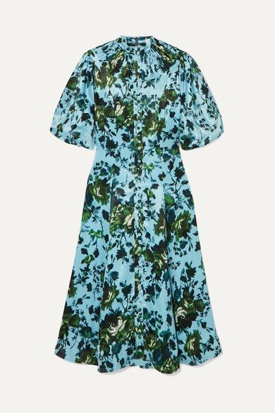 Erdem | Erdem - Margo Floral-print Satin Midi Dress - Blue | Clouty