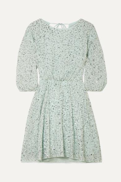 Alice + Olivia | Alice + Olivia - Palmira Embellished Chiffon Mini Dress - Mint | Clouty