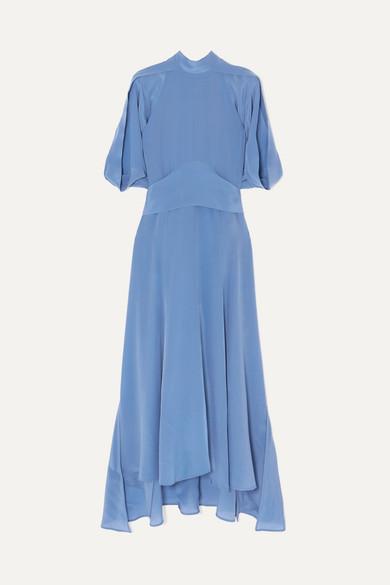 Petar Petrov   Petar Petrov - Belted Silk Midi Dress - Blue   Clouty