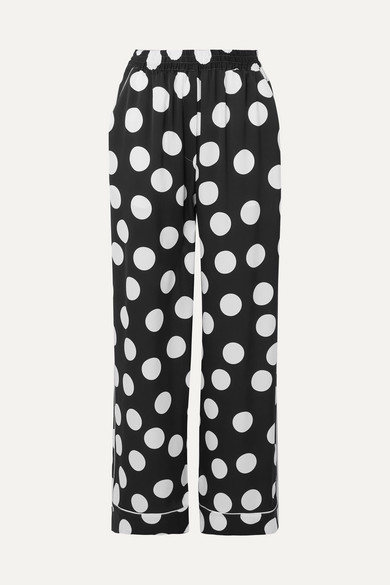 Dolce & Gabbana | Dolce & Gabbana - Polka-dot Silk-blend Satin Wide-leg Pants - Black | Clouty