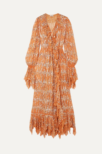 Ashish | Ashish - Ruffled Sequin-embellished Chiffon Wrap Maxi Dress - Beige | Clouty