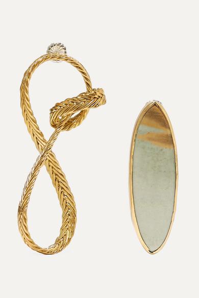 STVDIO | STVDIO - Regina Gold-tone Jasper Earrings - one size | Clouty