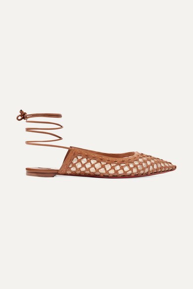Christian Louboutin | Christian Louboutin - Cage And Curry Mesh And Woven Leather Point-toe Flats - Tan | Clouty