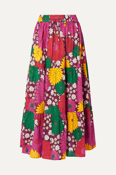 Dodo Bar Or | Dodo Bar Or - Batia Floral-print Cotton-voile Maxi Skirt - Pink | Clouty