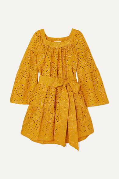 Lisa Marie Fernandez | Lisa Marie Fernandez - Tiered Broderie Anglaise Cotton Mini Dress - Saffron | Clouty