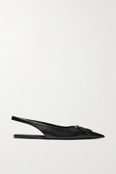Balenciaga | Balenciaga - Knife Logo-embellished Leather Point-toe Flats - Black | Clouty