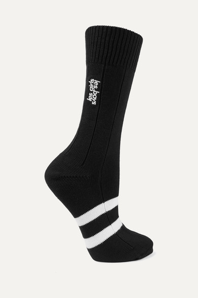 Les Girls Les Boys | Les Girls Les Boys - Classic Embroidered Striped Cotton-blend Socks - Black | Clouty