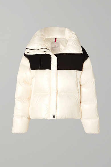 MONCLER   Moncler - Hooded Two-tone Quilted Shell And Jersey Down Jacket - White   Clouty