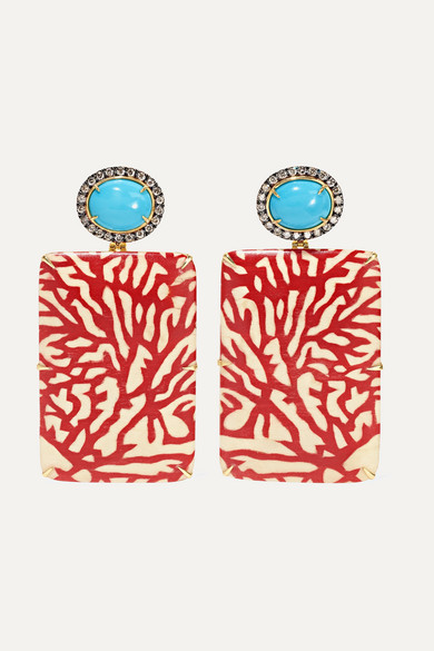 Silvia Furmanovich | Silvia Furmanovich - Marquetry 18-karat Gold, Wood, Diamond And Turquoise Earrings - one size | Clouty