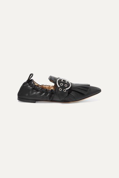 Chloé | Chloe - Roy Fringed Leather Loafers - Black | Clouty