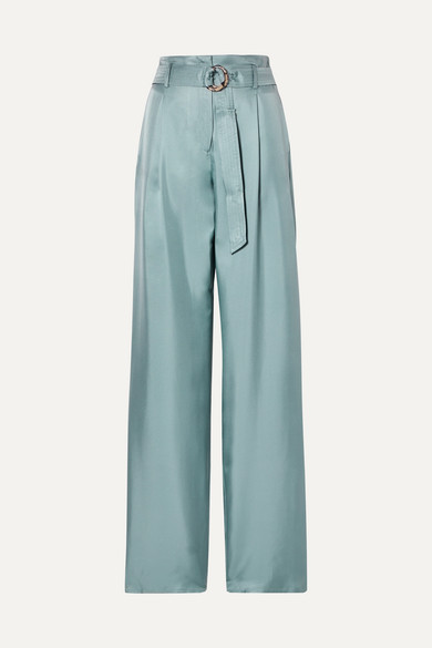 Sally Lapointe | Sally LaPointe - Belted Silk-satin Twill Wide-leg Pants - Gray green | Clouty
