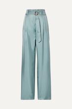 Фото Sally LaPointe - Belted Silk-satin Twill Wide-leg Pants - Gray green