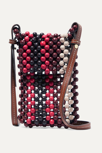 Ulla Johnson | Ulla Johnson - Dumi Faux Leather-trimmed Beaded Shoulder Bag - Red | Clouty