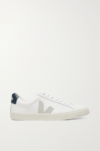 Veja | Veja - + Net Sustain Esplar Suede-trimmed Leather Sneakers - White | Clouty