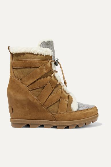 Sorel | Sorel - Joan Of Arctic Wedge Ii Shearling-trimmed Waterproof Nubuck, Suede And Felt Ankle Boots - Brown | Clouty