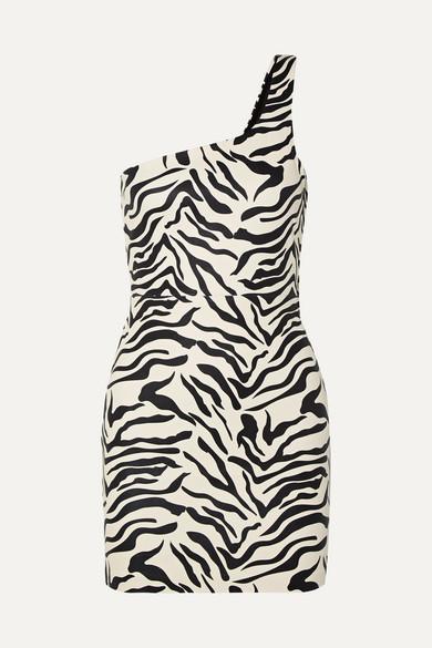 SPRWMN | SPRWMN - One-shoulder Zebra-print Leather Mini Dress - Zebra | Clouty