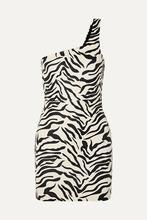 Фото SPRWMN - One-shoulder Zebra-print Leather Mini Dress - Zebra