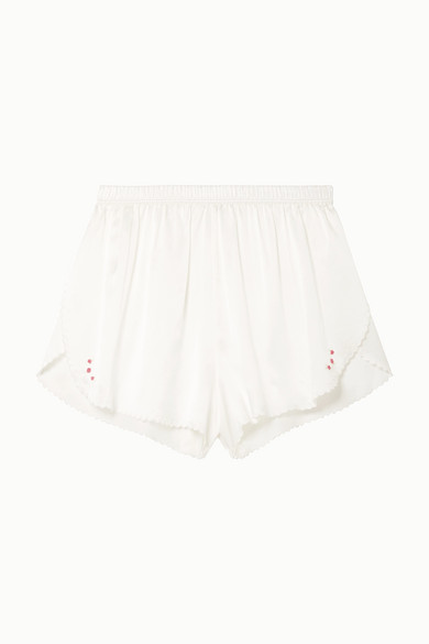 Morgan Lane   Morgan Lane - Rosie Scalloped Embroidered Silk-charmeuse Pajama Shorts - Off-white   Clouty